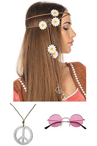 Hippie Kostüm Mädels Zubehör Set (Pink)
