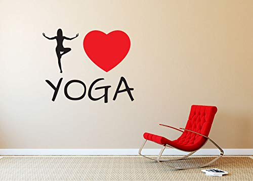 jiuyaomai Yoga Studio Wandtattoo Zitate Ich Liebe Yoga Wandaufkleber Herz Muster Innenausbau Kunstwand Buddha Abnehmbare Aufkleber 42x35 cm