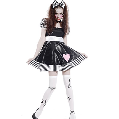Maboobie - Disfraz de muñeca Broken Doll Zombie tenebroso para Mujer Fiesta Temática Carnaval Halloween