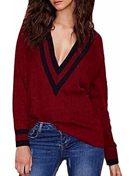 Maglione solido delle donne casuale autunno sottile scollo a V Maglione lavorato a maglia