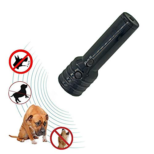 Super Moon Ahuyentador de Perros por Ultrasonido LED y Entrenador Dispositivo de Ladridos Anti Perro de Tres Canales Perro Repeller/Herramienta de Entrenamiento/Stop Barking con Linterna LED