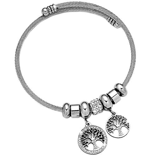 Beloved bracciale da donna in acciaio snodabile e cristalli bangle semirigido con charms pendenti