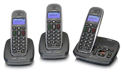 Audioline 902001 Team 383 schnurlos DECT-Telefon-Set mit Anrufbeantworter (LCD Display-monochrome) (3 Telefon-sets, Mobilteile)