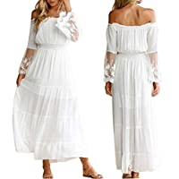 EGELEXY Women Cocktail Off The Shoulder Empire Waist Lace Sleeve Long Maxi Dress Size M (White)