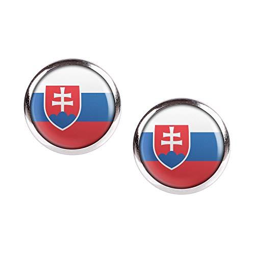 Mylery Ohrstecker Paar mit Motiv Slowakei Slovakia Bratislava Flagge silber 12mm