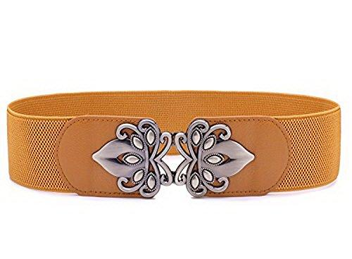 Chicwe Cinturones Retros Tallas Grandes Mujeres Cinturón Ancho Elástico Cierre con Hebilla Marrón 110