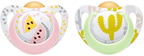 NUK 10173087 Genius Color Latex-Schnuller, kiefergerechte Form, 18-36 Monate, 2 Stück, Girl, rosa