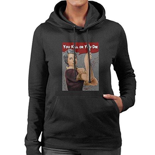 Cloud City 7 Walking Dead Carol You Kill Or You Die Rosie Riveter Pose Women's Hooded Sweatshirt
