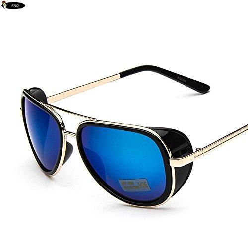 Adeby Izusa (TM) Iron Man 3Matsuda Tony Steampunk Sonnenbrille Herren verspiegelt Brille Vintage Sports Sun Glasses, Schwarzblau
