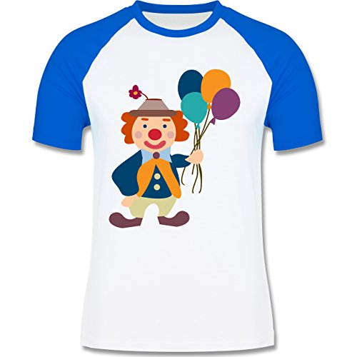 Karneval & Fasching - Clown Luftballons - zweifarbiges Baseballshirt für Männer Weiß/Royalblau