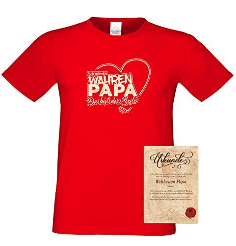 Vater, Vatertag, Vatertagsgeschenk T-Shirt Funshirt Für meinen wahren Papa Geschenkidee, Geschenkset, auch in Übergröße Farbe: rot Rot