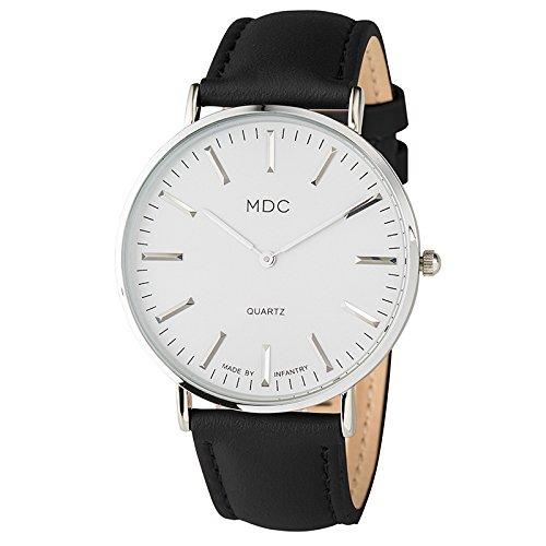 Armbanduhr Männer Lederarmband Uhr Schwarz Damen Analoge Uhren Herren Leder Herrenarmbanduhr by MDC
