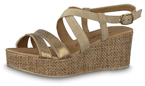 Tamaris 1-1-28041-20 Damen Sandale, Sandalette, Sommerschuhe für die modebewusste Frau beige (Nature/Gold), EU 40