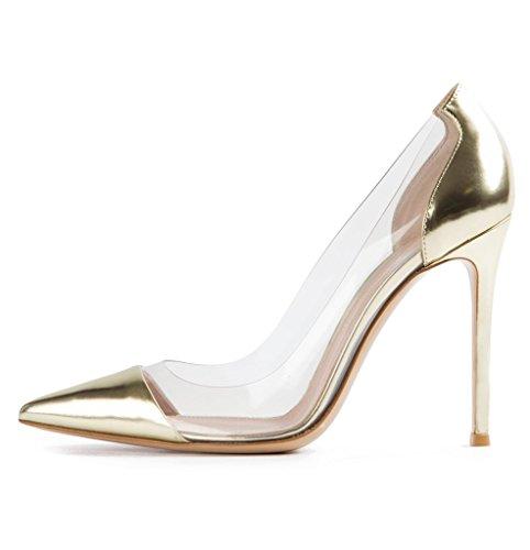EDEFS -Escarpins Femmes - Aiguille Talon - Transparent Chaussures - A enfiler PVC Bout fermé - Taille Or