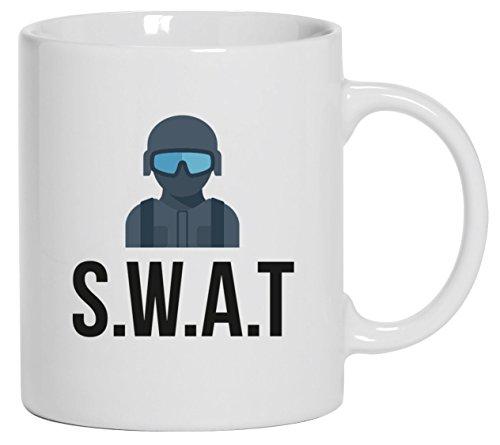 Spezialeinheit Kostüm Swat - Spezialeinheit Kaffeetasse Kaffeebecher mit SWAT Kostüm 2 Motiv von ShirtStreet, Größe: onesize,Weiß