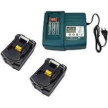 2pcs 18V 5.0Ah sustituir batería Makita BL1830BL1840BL1850. Con Cargador Makita DC18RA DC18SC dc1803dc14sa DC1804