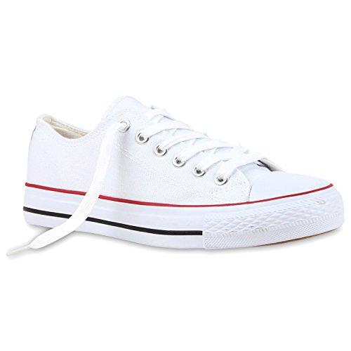 Damen Sneakers Low Sportliche Turnschuhe Freizeit Schuhe Weiß