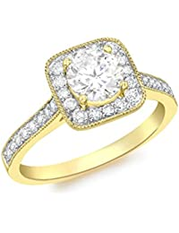 Carissima Gold 9 ct Yellow Gold Square Cubic Zirconia Cluster Ring - Size N
