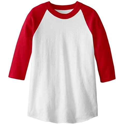 soffe Raglan Béisbol undershirt – White/Red Youth Large