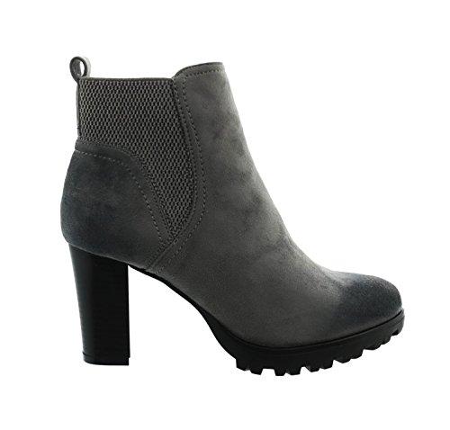 Damen Stiefeletten Ankle Boots Plateau Stiefel Schuhe 73 Grau