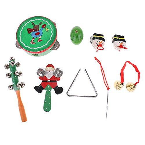 Sharplace tamburello+maracas+sonaglio+campanella giocattoli musicali babbo natale pupazzo di neve per bambini - 8pcs