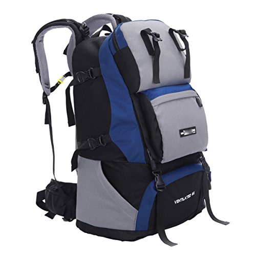 60L Umhängetasche Bergsteigen Rucksack Outdoor Rucksack Sporttasche,SapphireBlue DarkBlue