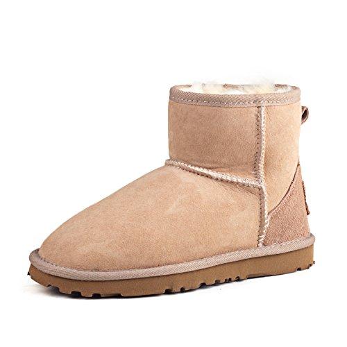 Shenduo Bottes femme cuir de mouton, Boots fourrées hiver courtes doublure chaude de laine DV5854 Sable