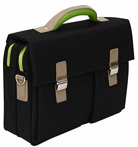 Borsa morbida da ufficio di qualità con tracolla - per laptop 15,6' - Inserti verdi