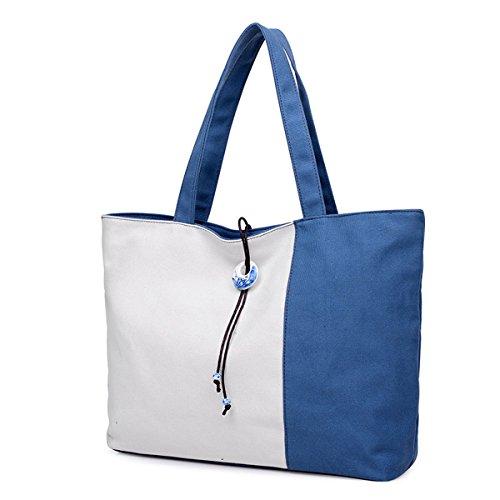 UGOOO Canvas Shopper Tasche Damen Handtasche Groß College Tasche Blau
