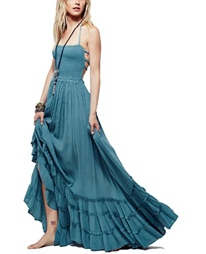 HorBous Robe Longue de Plage Boheme Style Robe Chic Femme Robe à Bretelle Plissee sans Manches Epaules Denudees Robe Longue Sexy Robe Ete ,Bleu,XL