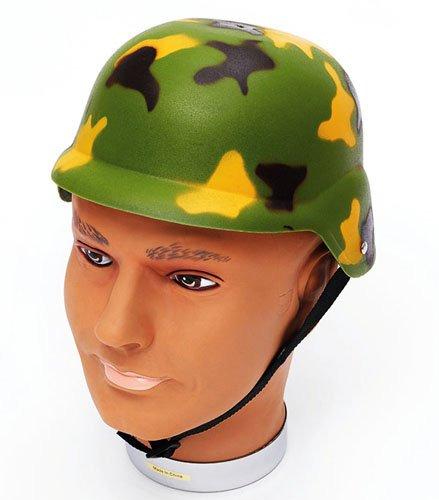Image of Camouflage Hard Helmet Army Soldier Military Hero Action Man Camo Fancy Dress
