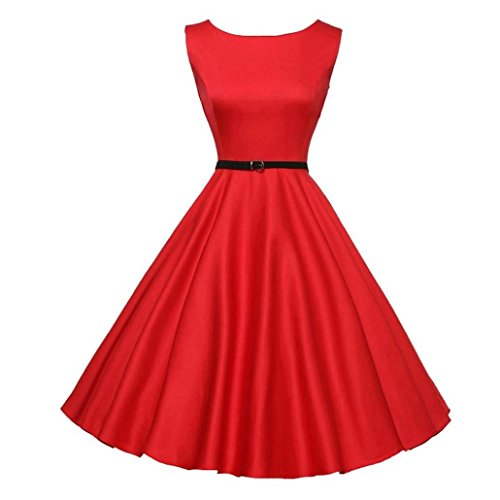 Ba Zha Hei Frauen Vintage Bodycon Sleeveless beiläufige Retro Abend Party Prom Swing Sleeves Dot Einfarbig Rockabilly Swing Kleider Retro Petticoat Faltenrock Party Club Oberteil Mini (XL, rot)