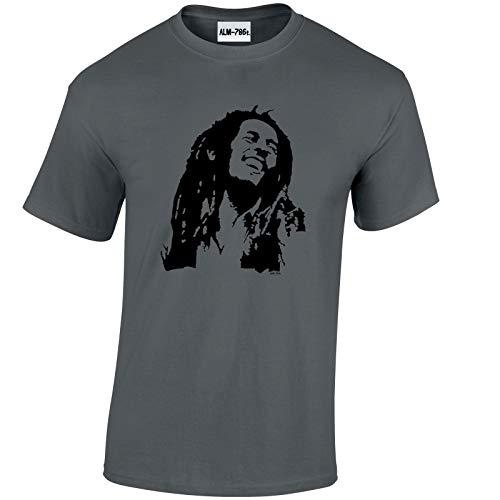 Mens Bob Marley Inspired Reggae T-Shirt-Charcoal-Large -