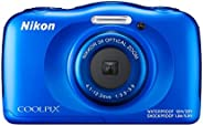 Nikon Coolpix W100 13.2 MP Point and Shoot Digital Camera (Blue) with 3X Optical Zoom, Card and Camera Case