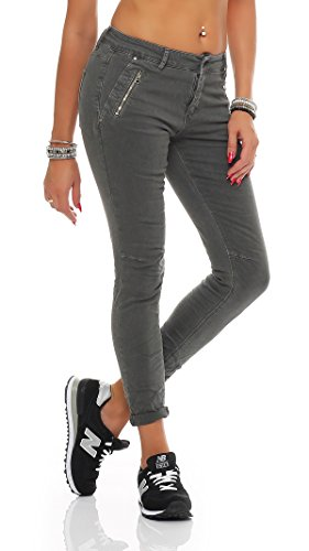 SKUTARI - Femme Jean Pantalons Skinny Taille Gris 2