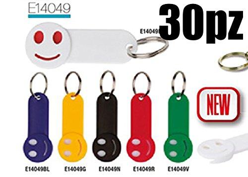 Stock 30 pezzi portachiavi smile sorriso con gettone portagettone