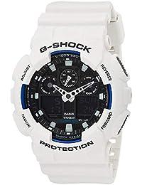 Casio G-SHOCK Reloj Analógico-Digital, 20 BAR, Blanco, para Hombre, GA-100B-7AER