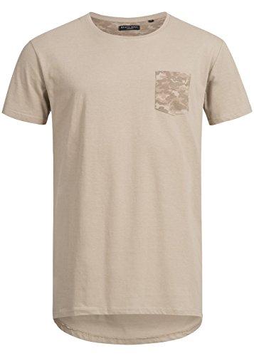 Brave Soul Herren T-Shirt mit Brusttasche, Camo Muster, Longer Fit beige/camo