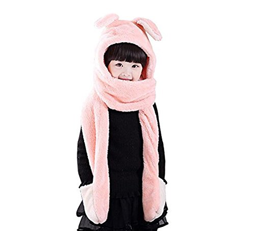 1 stücke 3 in 1 unisex baby winter warme mit kapuze kaninchen schal mit taschen-korallen samt schafe cap hüte nackenwärmer schal weiche schal handschuhe für kinder (Pink) (Tartan-ski)