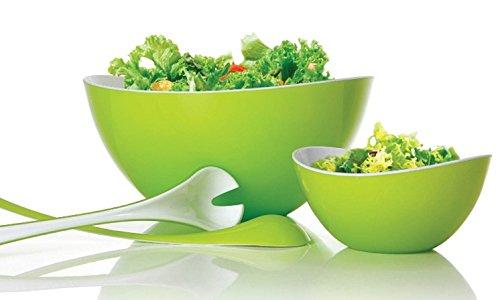 Metaltex 96008710080 Saladier + 4 Bols + Couvert à Salade Plastique Blanc/Vert 26 x 25 x 13 cm