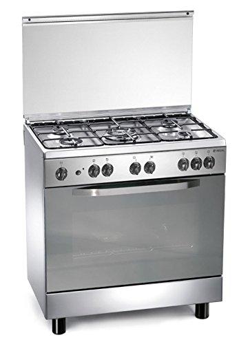 Edelstahl-Gasherd 80x50x85 cm mit 5 Brennern und Ofen - Regal RC855MX (Elektronische Regale)