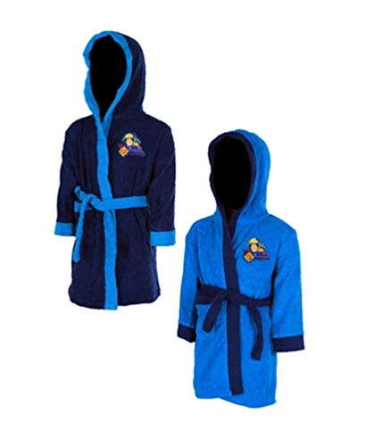 Feuerwehrmann-Sam Kinder Bademantel Morgenmantel, Größe:92-98 (2/3 A), Farbe:Dunkel-Blau