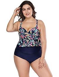 371f46abb20e68 FeelinGirl Bikini Tankini Bademode Badeanzug Monokini Retro Groß Größe  Bikini Sets Plus Size Bandeau High Waist Bikini Damen…