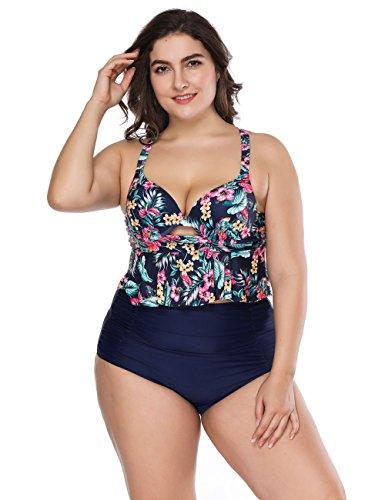FeelinGirl Damen Bikini Set Push Up Gepolstert Bustier Zweiteilig Sommer Sportliches Bademode Strand Bikini XXL Schwarzblau