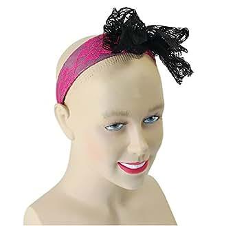 80's Neon Lace Headband. Pink
