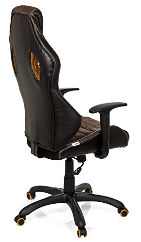 41rEZpd2GOL - hjh OFFICE 621880 RACER VINTAGE IV - Silla Gaming y oficina,  piel sintética marrón