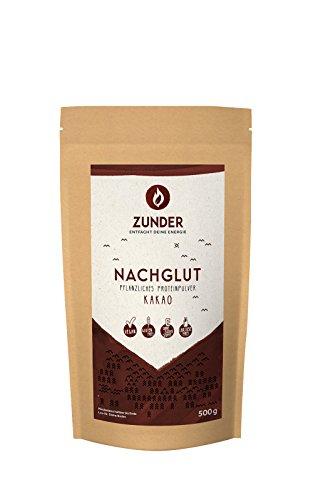 Zunder Nachglut Pflanzlicher Eiweiss Shake  - Kakao Geschmack - Mit Reis- und Erbsenprotein - 69% Proteinanteil - 500g