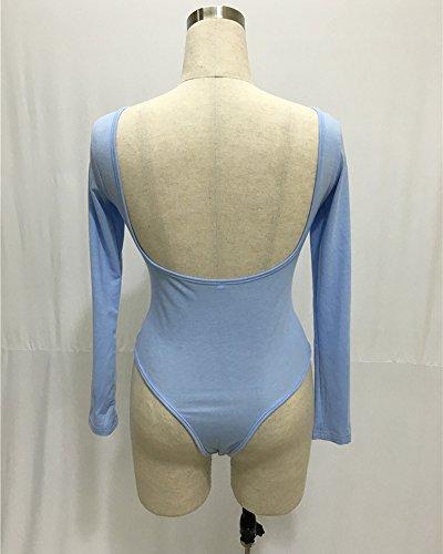 Donne Tuta Aderente A Maniche Lunghe Con Collo Rotondo Stretch Body Top Corte Jumpsuit Puro Colore Tutine Azzurro chiaro