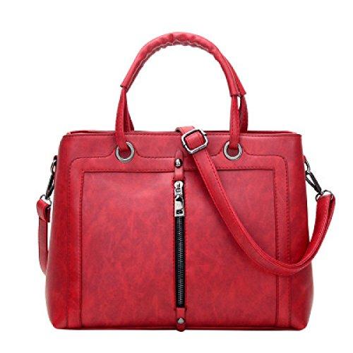 ZPFME Handtaschen Der Frauen Beiläufig Damebeutel Handtasche Mädchen Partei Retro Damen Art Und Weise Schulterbeutel Kurierbeutel Red