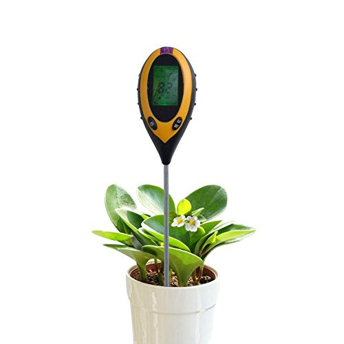 RCYAGO 4in 1Erde Feuchtigkeit Meter Boden PH-Wert Boden Temperatur und Sonnenlicht Intensität Tester für den Garten Landwirtschaft Indoor Outdoor
